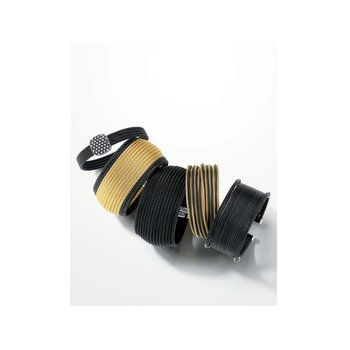 Black Cable Oversized Cuff with 18kt Yellow Gold