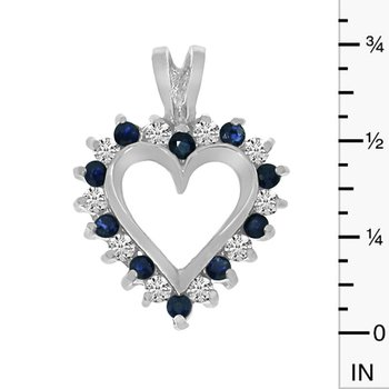 14k White Gold Sapphire and Diamond Heart Shaped Pendant