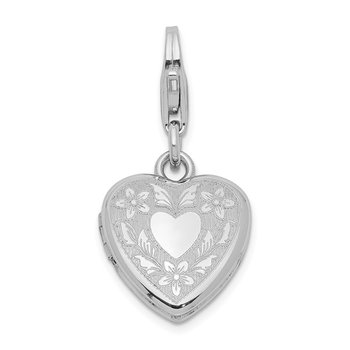Sterling Silver Heart Wings Lobster Clasp 12mm Heart Locket