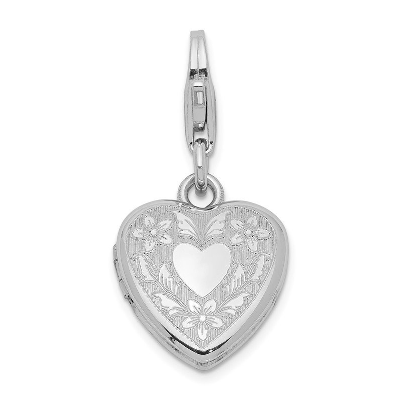 Quality Gold Sterling Silver Heart Wings Lobster Clasp 12mm Heart Locket