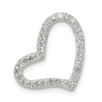 Sterling Silver Polished Heart CZ Chain Slide Pendant