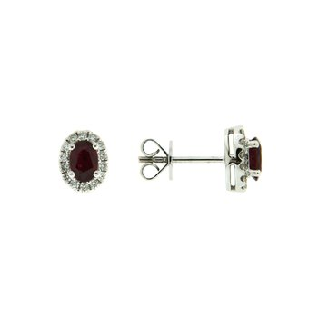 18k White Gold Earrings with Ruby & Diamond