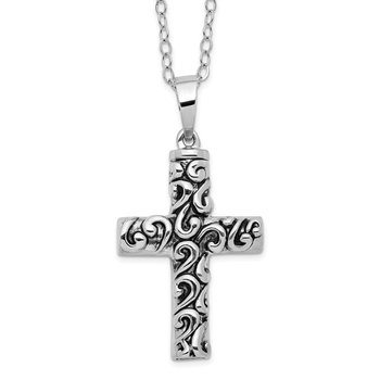 Sterling Silver Antiqued Cross Remembrance Ash Holder 18in Necklace