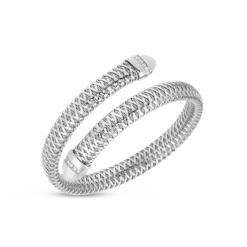 Flexible Snake Cuff With Diamonds &Ndash; 18K White Gold