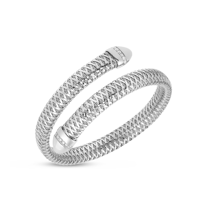 Roberto Coin Flexible Snake Cuff With Diamonds &Ndash; 18K White Gold
