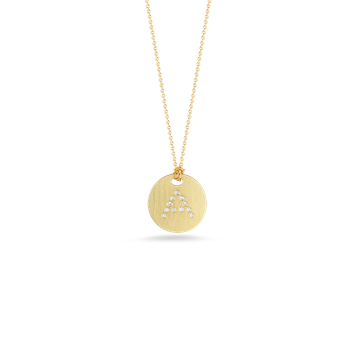 18Kt Gold Disc Pendant With Diamond Initial A