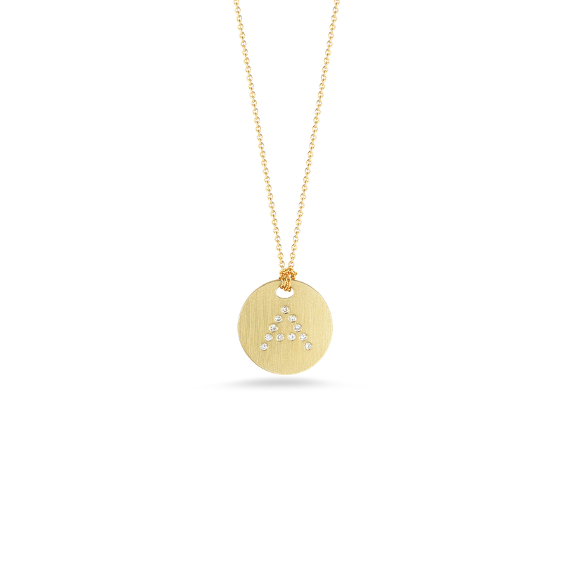 Roberto Coin 18Kt Gold Disc Pendant With Diamond Initial A