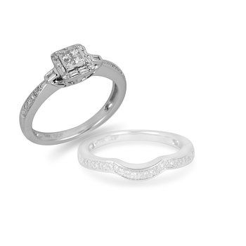 14K WG Diamond Quad Center Engagement Ring