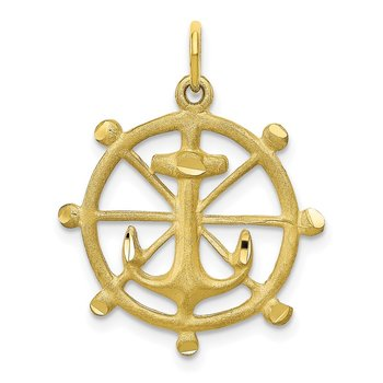 10k Anchor in a Wheel Charm