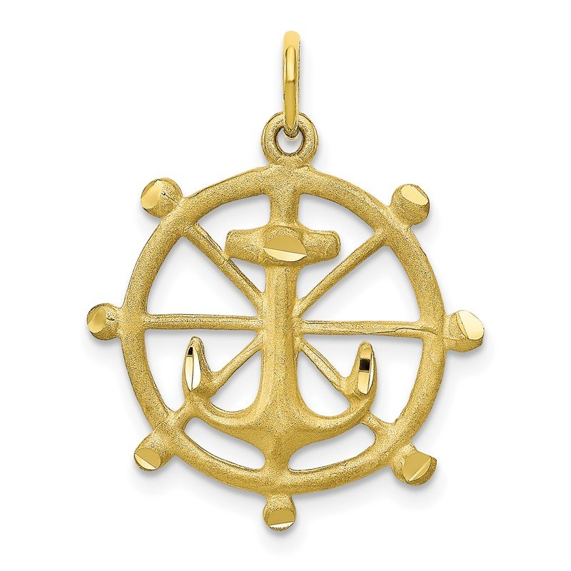 Quality Gold 10k Anchor in a Wheel Charm