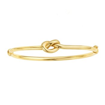 14K Gold Polished Puffed Love Knot Bangle