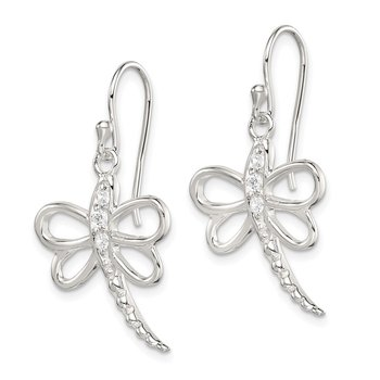 Sterling Silver CZ Dragonfly Shepherd Hook Earrings