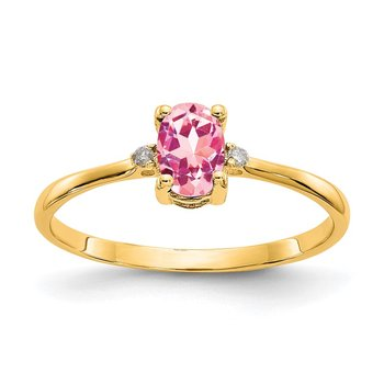 14k Diamond & Pink Tourmaline Birthstone Ring