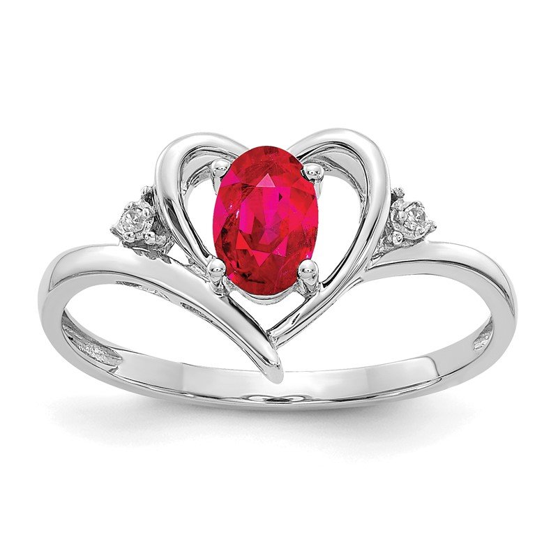 Quality Gold 14k White Gold Ruby and Diamond Heart Ring