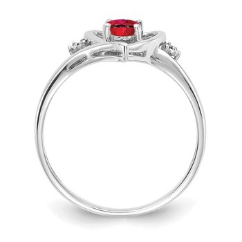 14k White Gold Ruby and Diamond Heart Ring