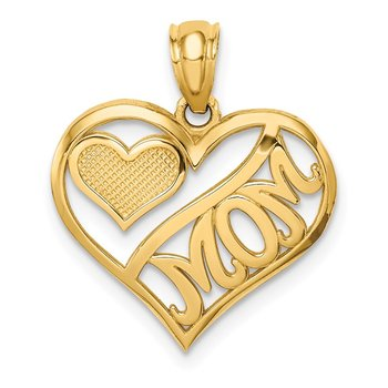 14k Polished MOM and Heart In Heart Pendant