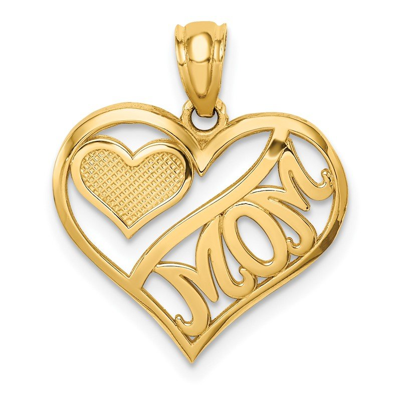 Quality Gold 14k Polished MOM and Heart In Heart Pendant