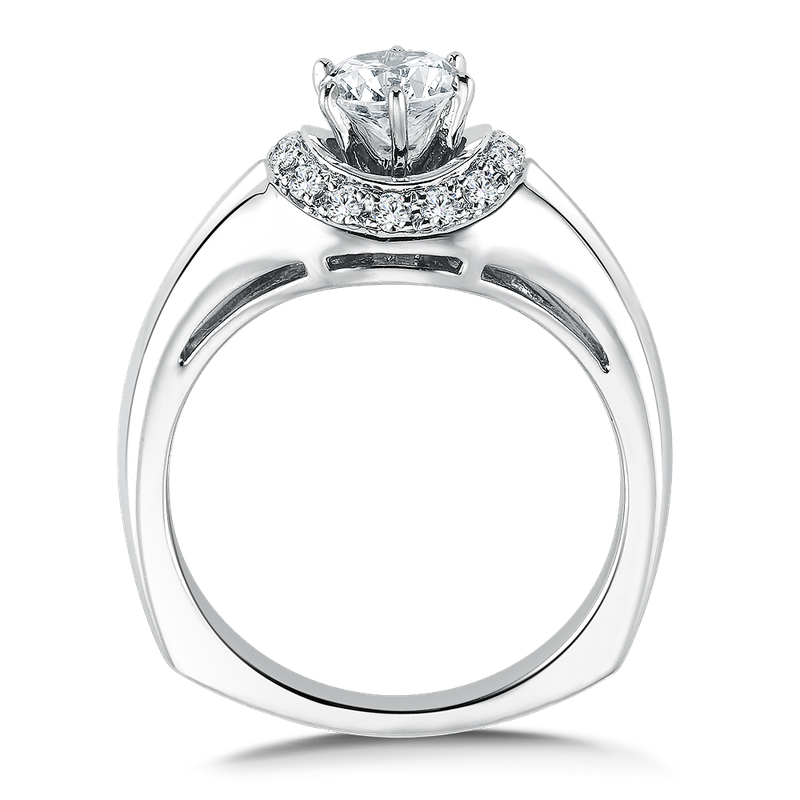 Valina Bridals Mounting with side stones .15 ct. tw., 5/8 ct. round center.