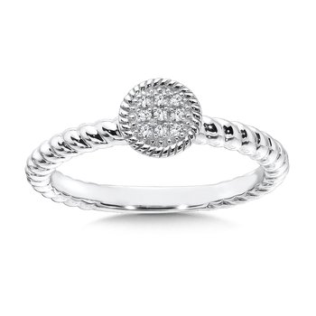 Round Sterling Silver Diamond Stacking Ring