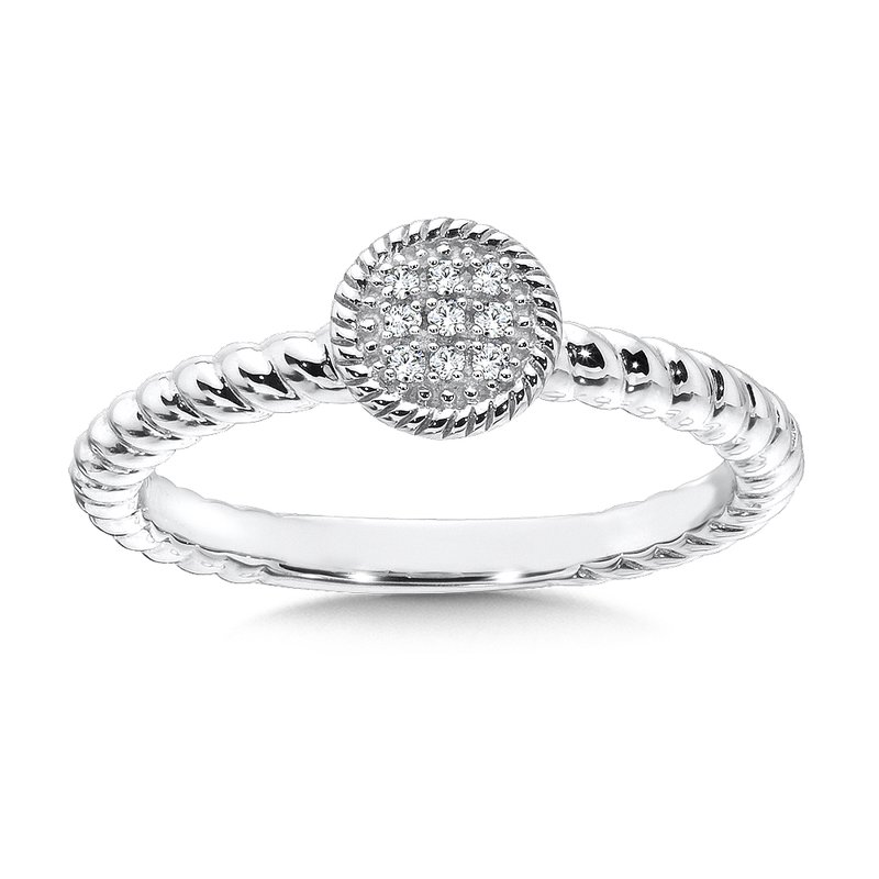 Colore Sg Round Sterling Silver Diamond Stacking Ring