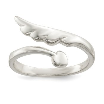 Sterling Silver Polished Heart and Wing By-Pass Ring