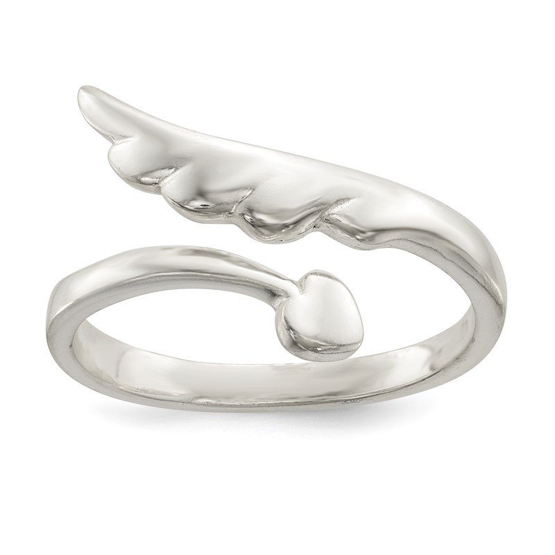 Quality Gold Sterling Silver Polished Heart and Wing By-Pass Ring