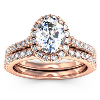 Oval Cut Diamond Halo Engagement Ring with Matching Band