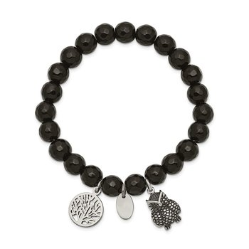 Stainless Steel Antiqued & Polished Owl Black Jade Stretch Bracelet