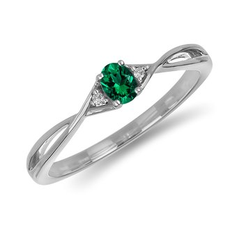 10K WG and diamond and Emerald infinity style birthstone ring