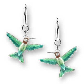 Green Hummingbird Wire Earrings.Sterling Silver-White Sapphires