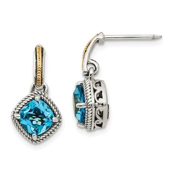 Sterling Silver w/14k Antiqued Light Swiss Blue Topaz Post Earrings