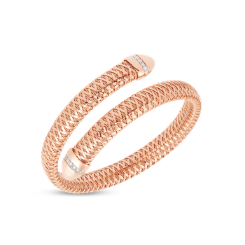 Flexible Snake Cuff With Diamonds &Ndash; 18K Rose Gold