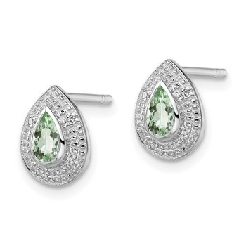 Sterling Silver Rhodium Green Quartz & Diamond Post Earrings