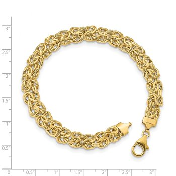 14K Polished Fancy Byzantine Link Bracelet