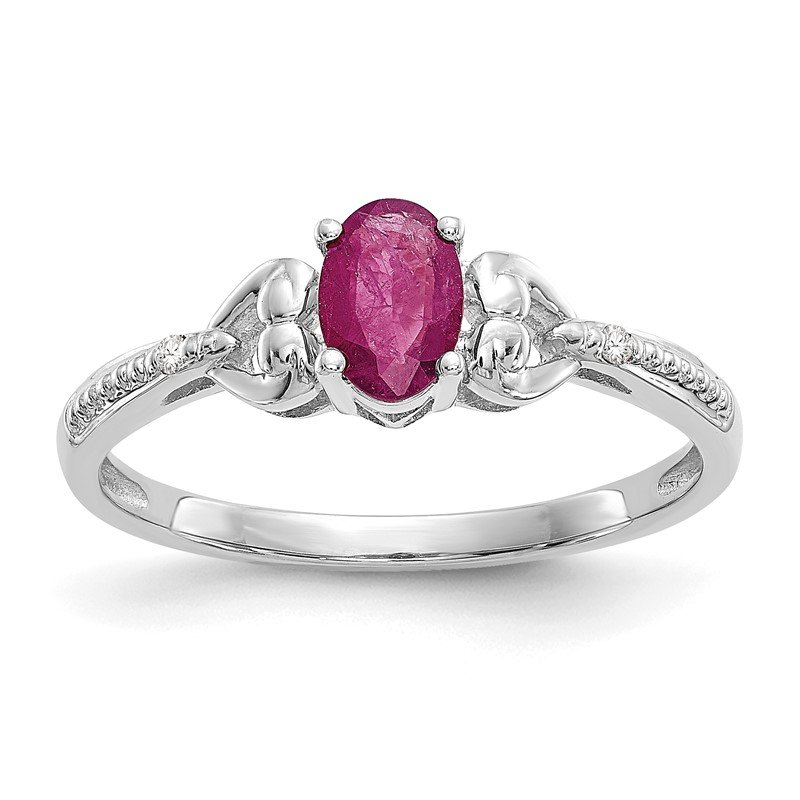 Quality Gold 10k White Gold Ruby and Diamond Ring