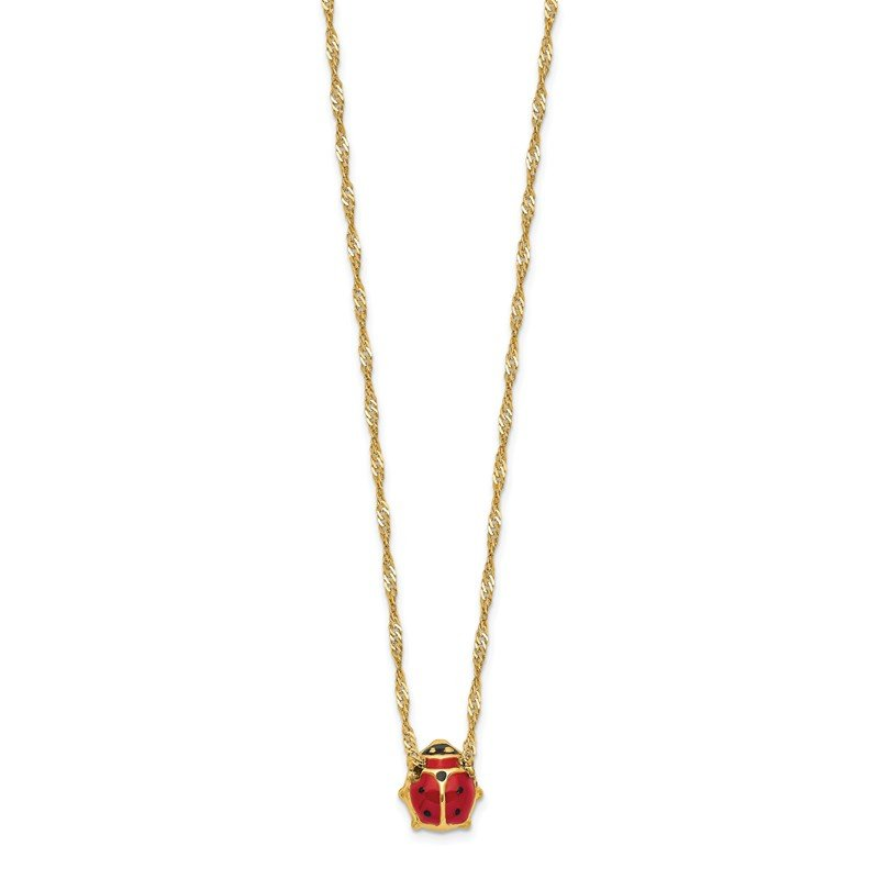 Quality Gold 14k Enameled Ladybug Necklace