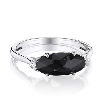 Solitaire Oval Gem Ring with Black Onyx