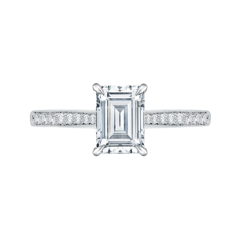 Carizza Emerald Cut Diamond Solitaire with Accents Engagement Ring In 14K White Gold (Semi-Mount)