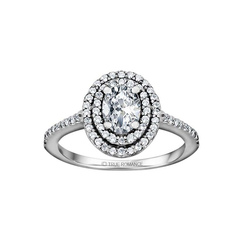 True Romance Oval Cut Double Halo Diamond Engagement Ring