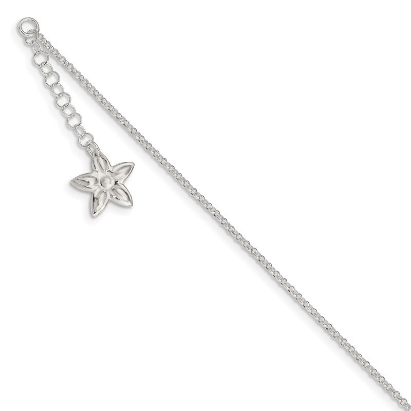 Quality Gold Sterling Silver Polished Flower 9in Plus 1in ext. Anklet