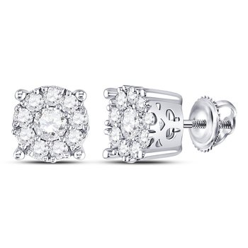 14kt White Gold Womens Round Diamond Cluster Stud Earrings 1.00 Cttw