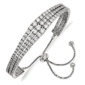 Sterling Silver Rhodium-plated Graduated CZ 3 Strand Adjustable Bracelet