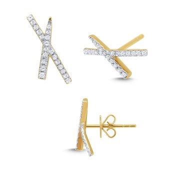 "14k Gold and Diamond ""X"" Earrings"