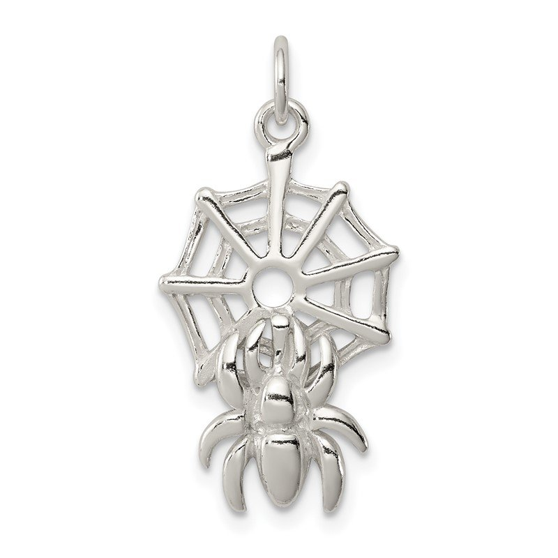Quality Gold Sterling Silver Spider on Web Charm