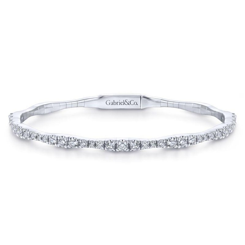 Gabriel Fashion Top Picks 14K White Gold Diamond Station Bangle