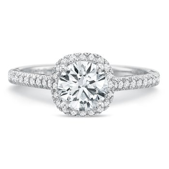 18K White Gold  halo semi mount for 1.00 ct round center