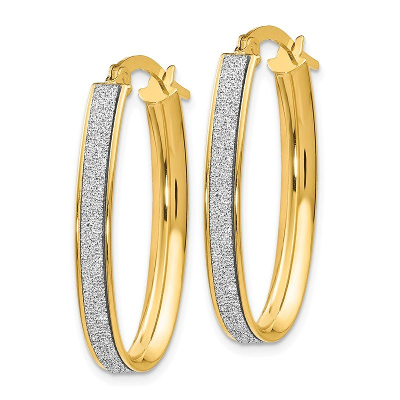 Leslie's Leslie's 14K Polished Glimmer Infused Oval Hoop Earrings