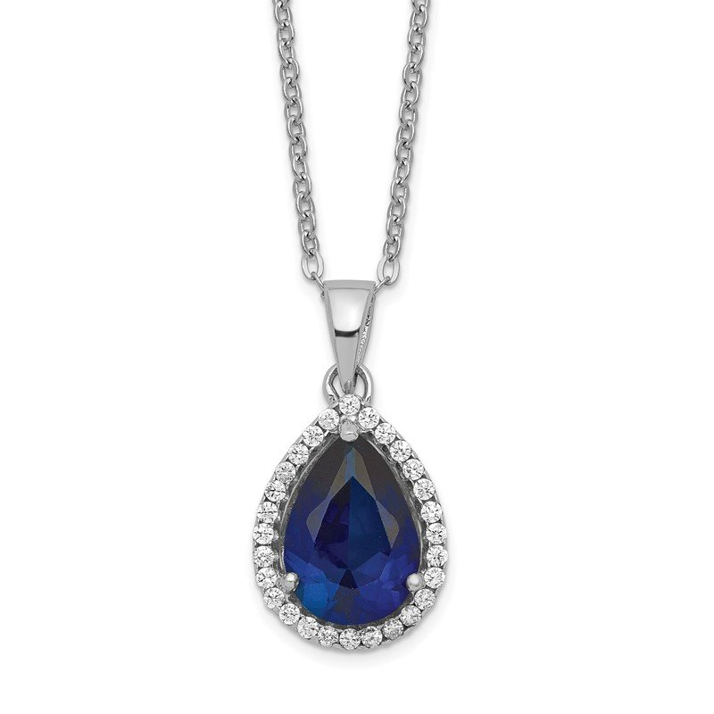 Quality Gold Sterling Silver Rhodium Created Sapphire & CZ Necklace