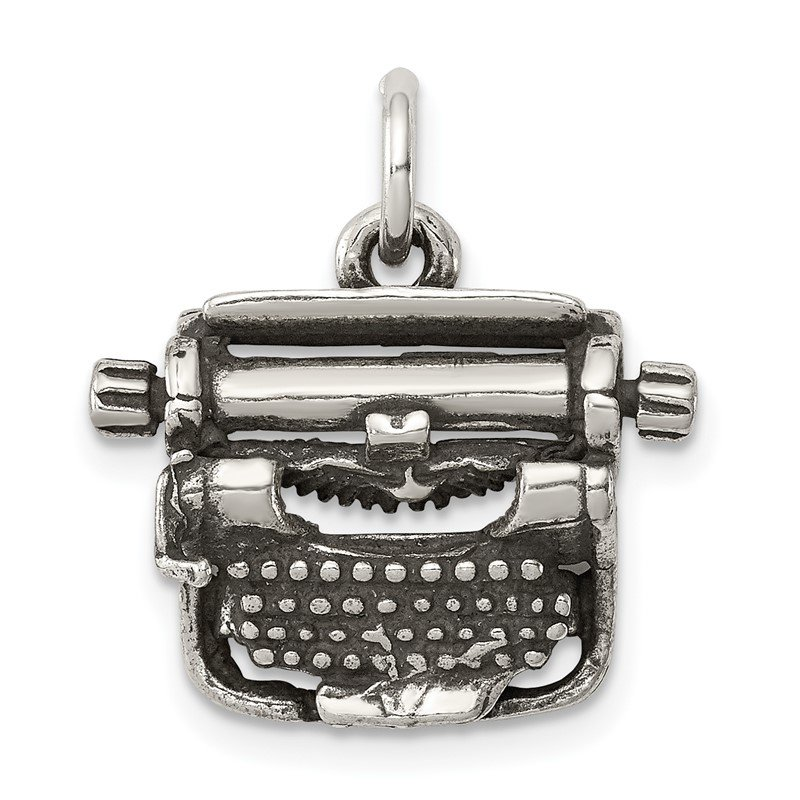 Quality Gold Sterling Silver Antiqued Typewriter Charm