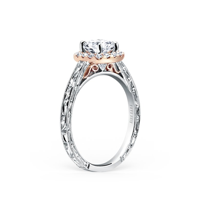 Two Tone Halo Diamond Engagement Ring